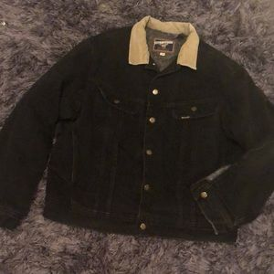 Mustang Stormrider lined black jean jacket.Vintage
